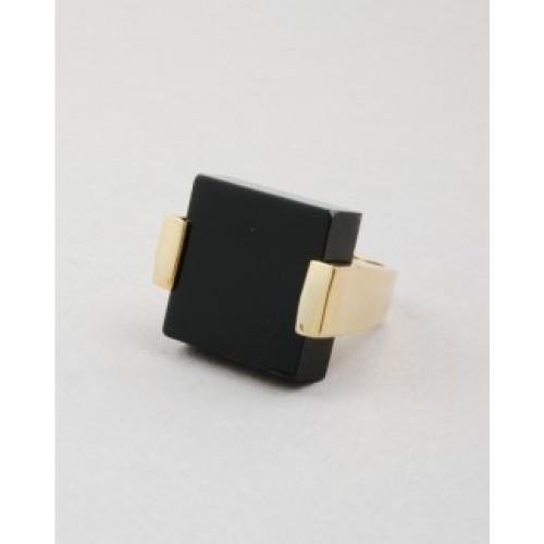 Black stone square large cocktail ring